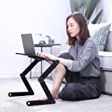 Cozy Desk for bed and sofa,Laptop stand,Height adjustable tabletop, Laptop cooling stand table pad with 2 CPU fans suitable for Notebook or Macbook and iPa,Black aluminum tablet table by AuAg