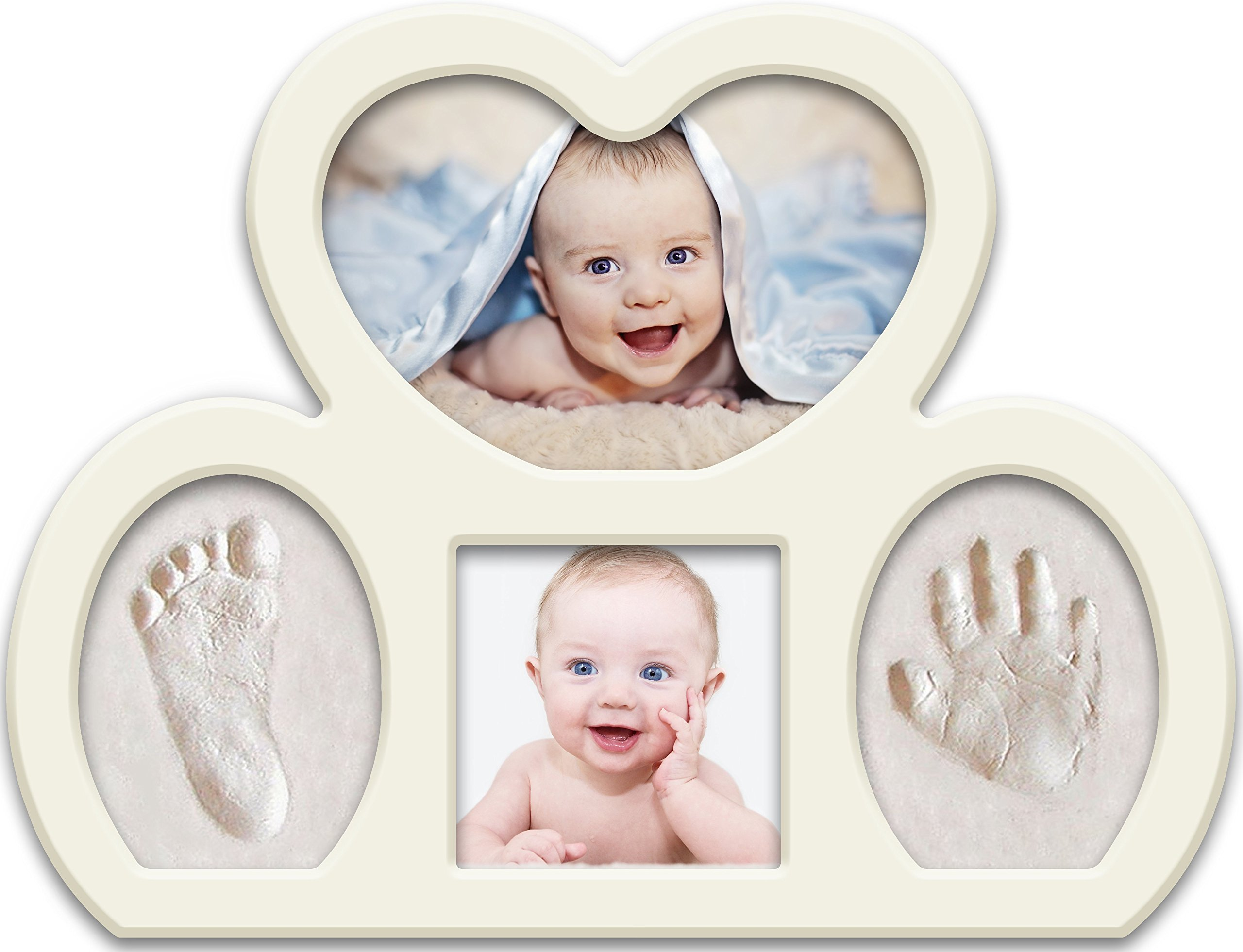 Newborn Babyprints Kit for Boys and Girls. Great Baby Shower Favor and Registry Idea. Baby Footprint and Handprint Photo Frame Keepsake. White