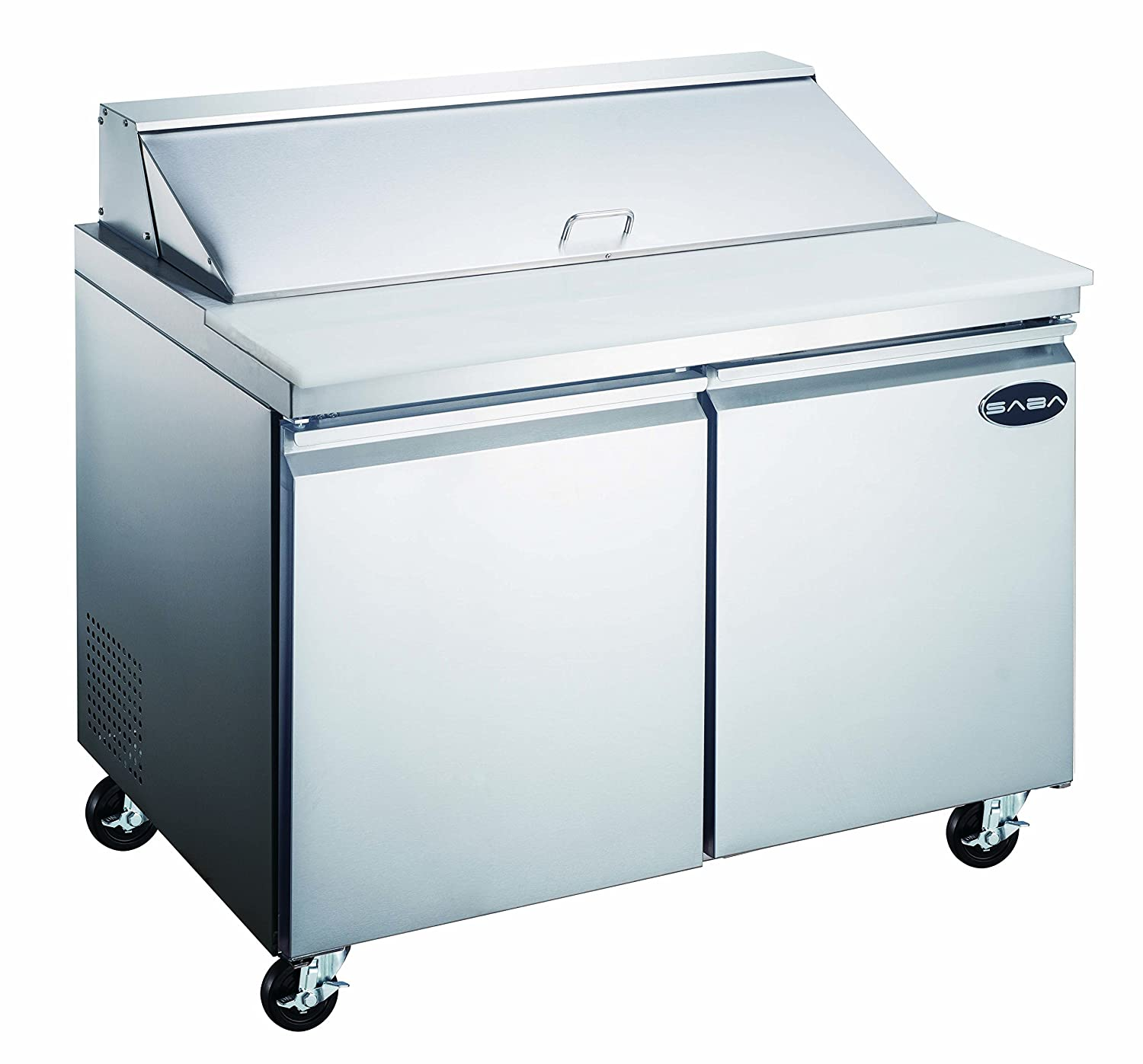 Heavy Duty Commercial Sandwich Salad Prep Table Refrigerator Cooler 2 Door 48""