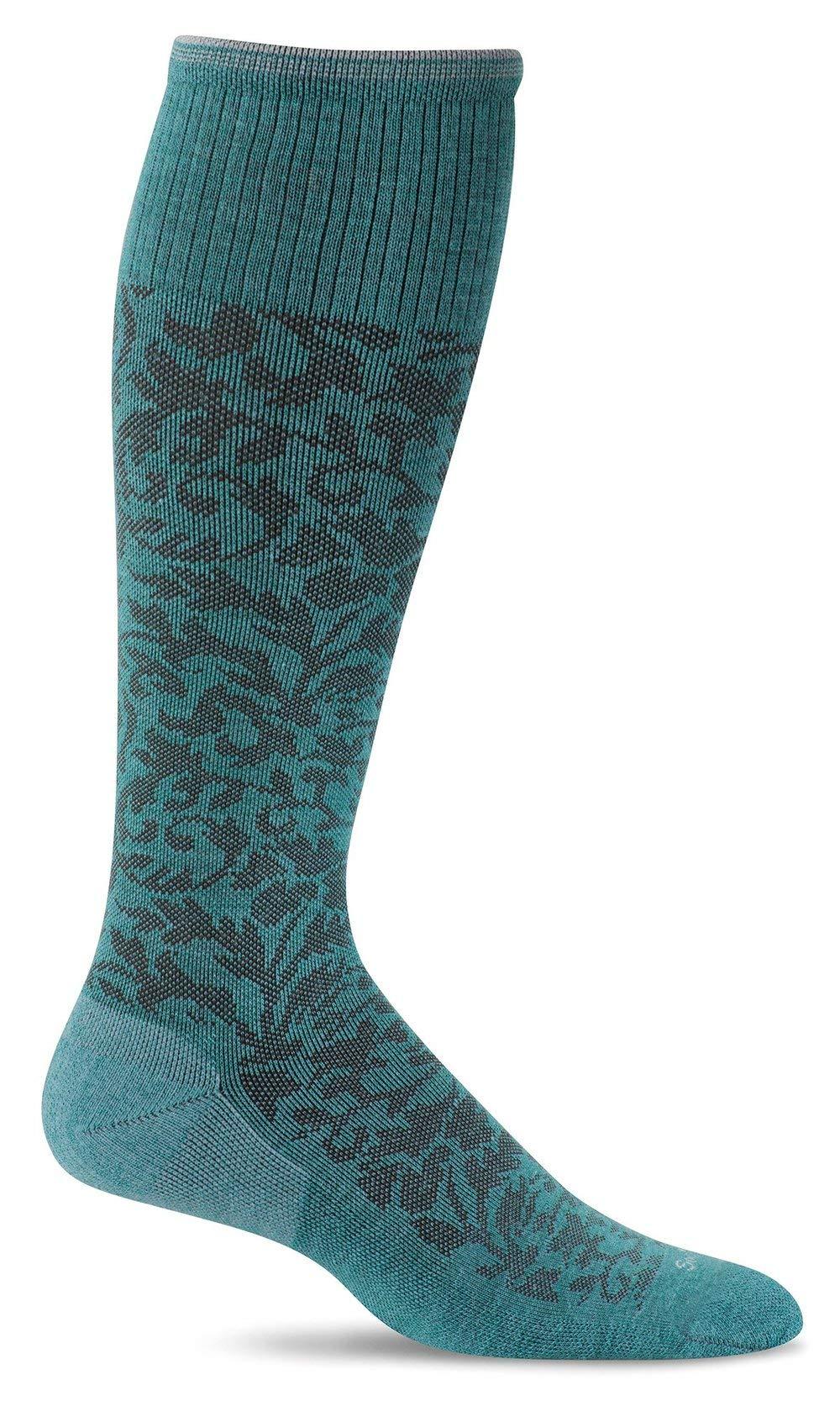 Sockwell Women's Damask Moderate Graduated Compression Socks, Mineral, Small/Medium