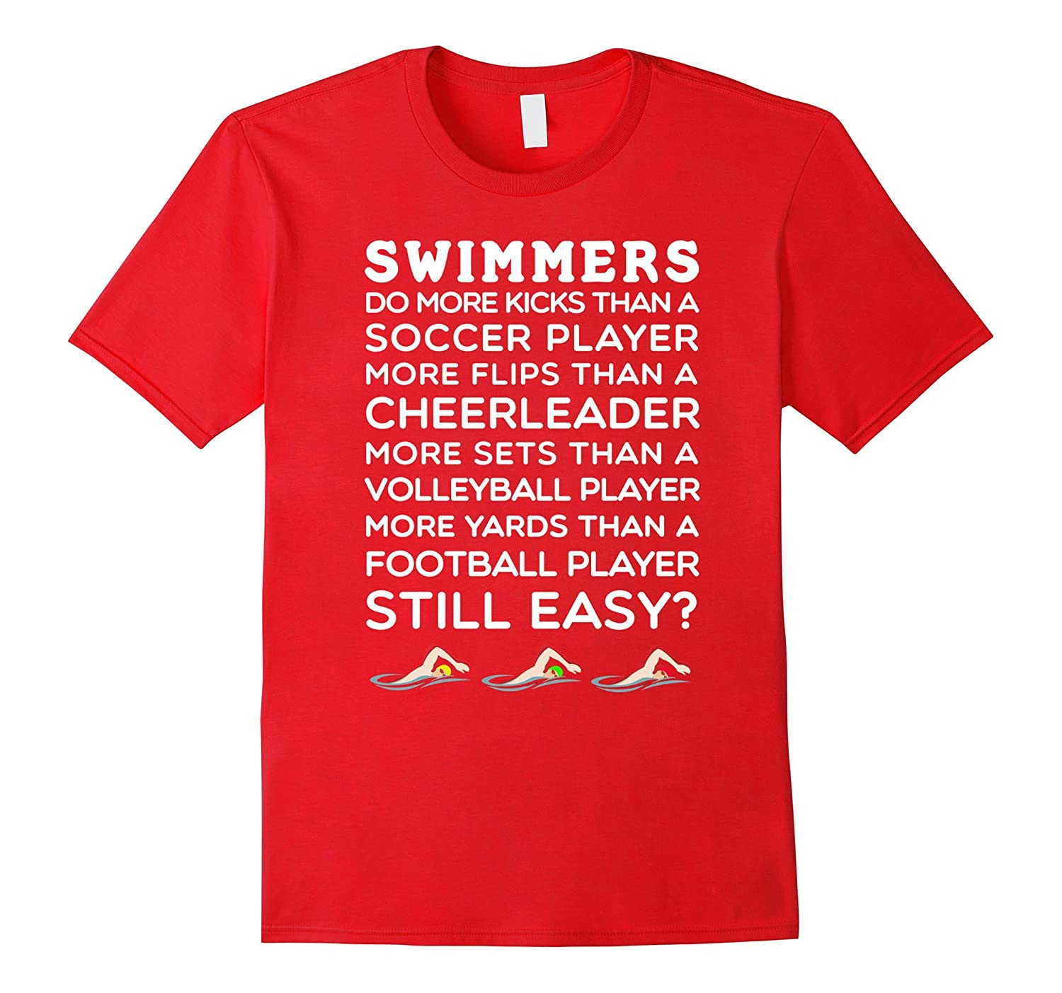 714cc754 Amazon.com: Still Think Swimming is Easy? Swim Team T-Shirt - White Lett:  Clothing