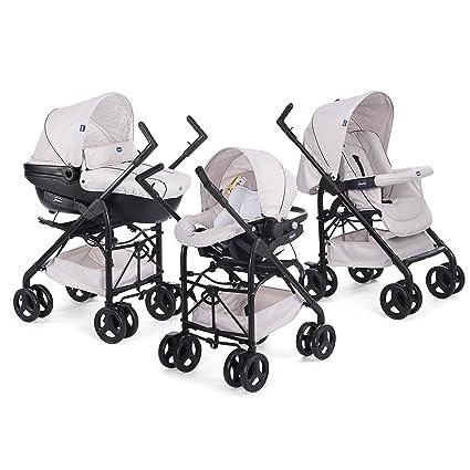 Chicco Trio Sprint Black - Sistema de paseo y viaje 3 en 1, capazo/carrito/coche, grupo 0+, colección 2017, color sandshell