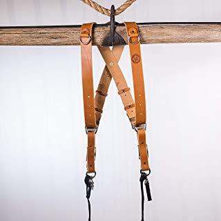 product image for HoldFast Gear Money Maker English Bridle Leather Large Two-Camera Harness, Tan