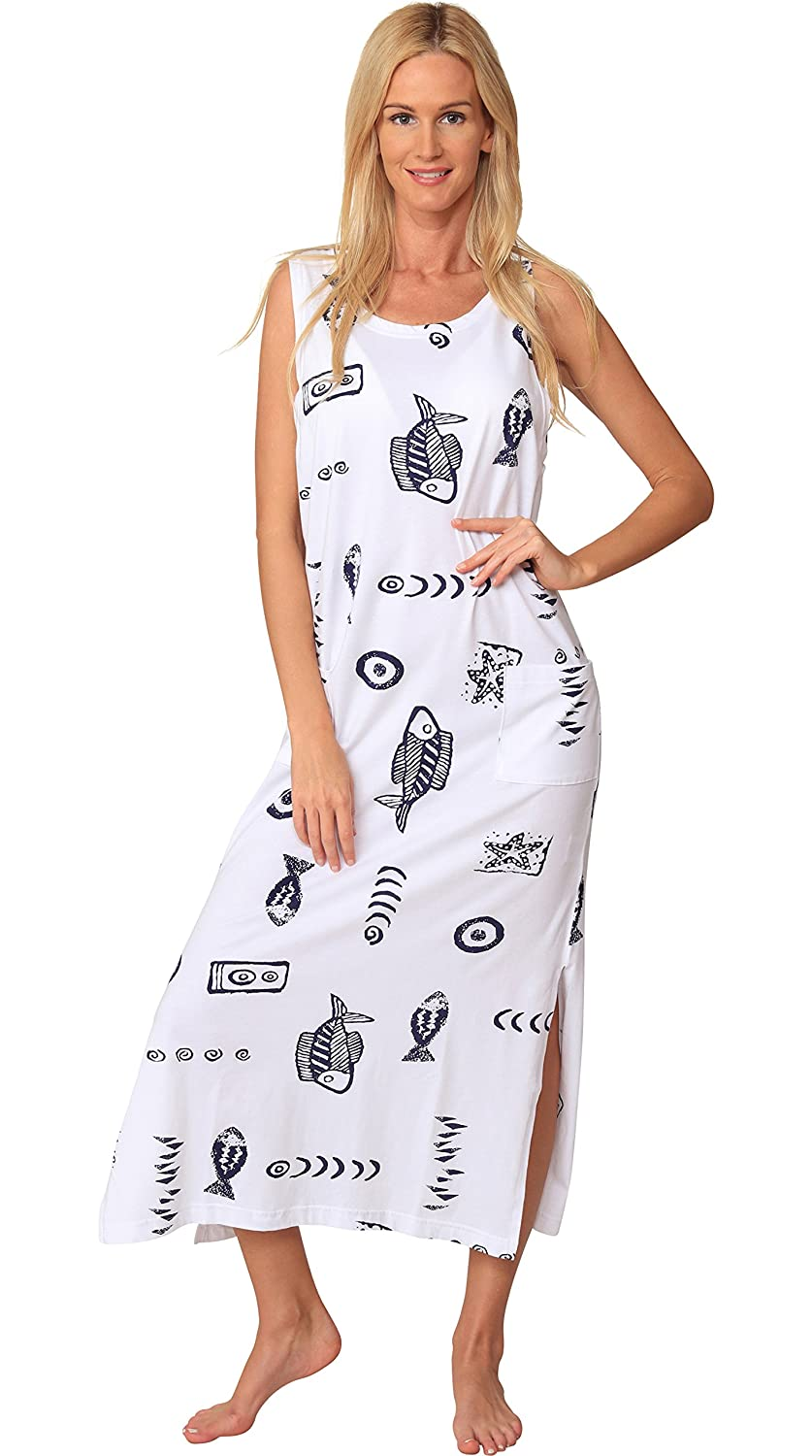 Ingear Cotton Dress Long Casual Beach Summer Tank Print Tee Cover Up Plus Size