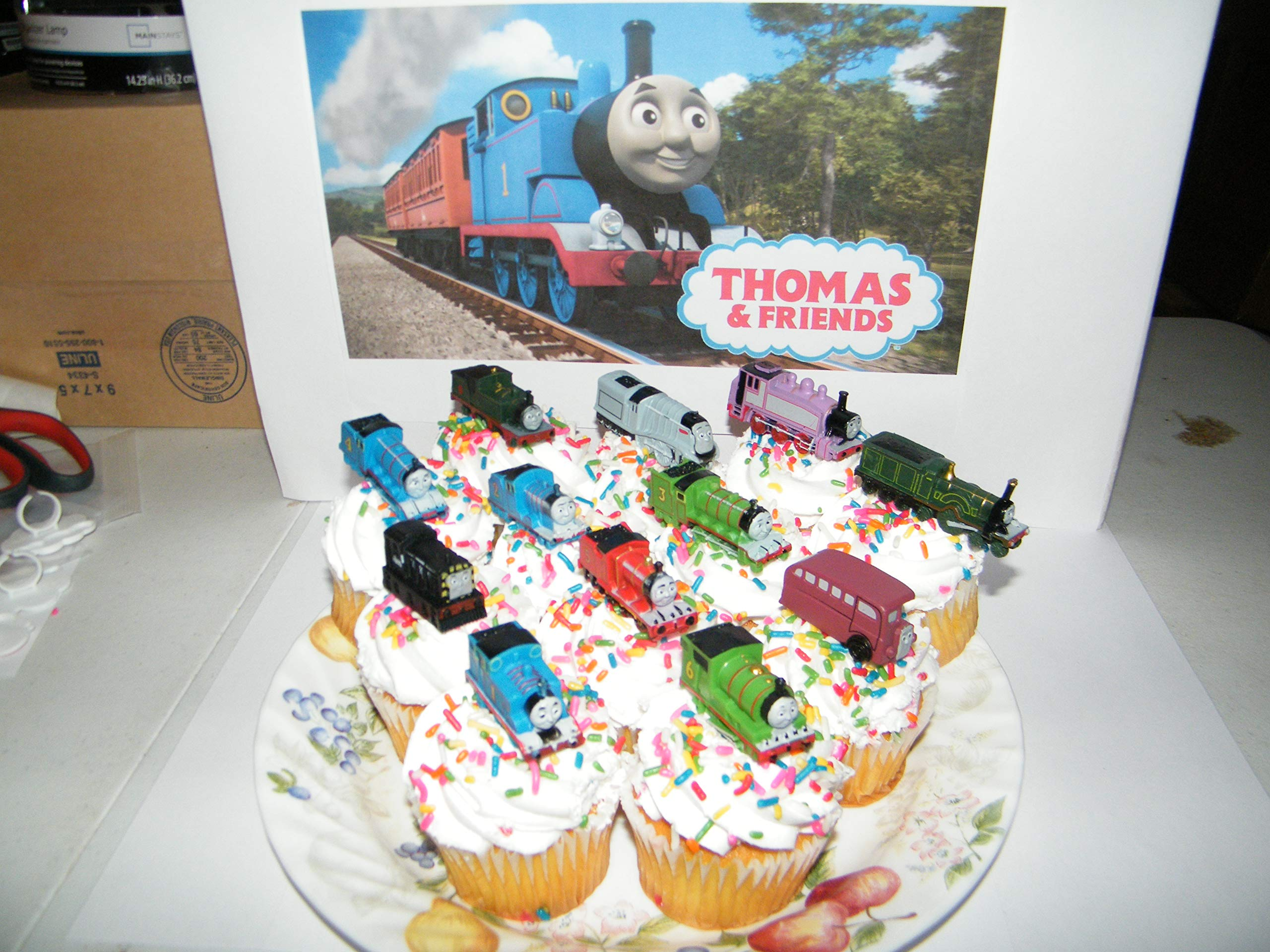 Thomas the Tank Engine Deluxe Cake Toppers Cupcake Decorations Set of 14 with 12 Figures and 2 Train ToyRings featuring Thomas, Rosie, Bus Bertie, James and More! by Party Decor