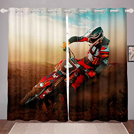 Feelyou Boys Motocross Rider Blackout Drapes for Kids Adults Extreme Sports Theme Window Treatments Motorcycle Pattern Curtains Cool Dirt Bike Window Drapes Room Decor 2 Panels, 38 x 54 Inch