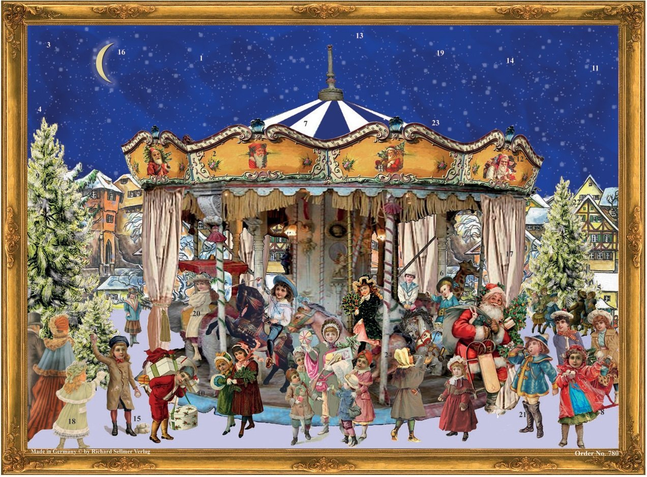 Victorian Theme - Santa And Children With Merry Go Round - Paper Advent Calendar -