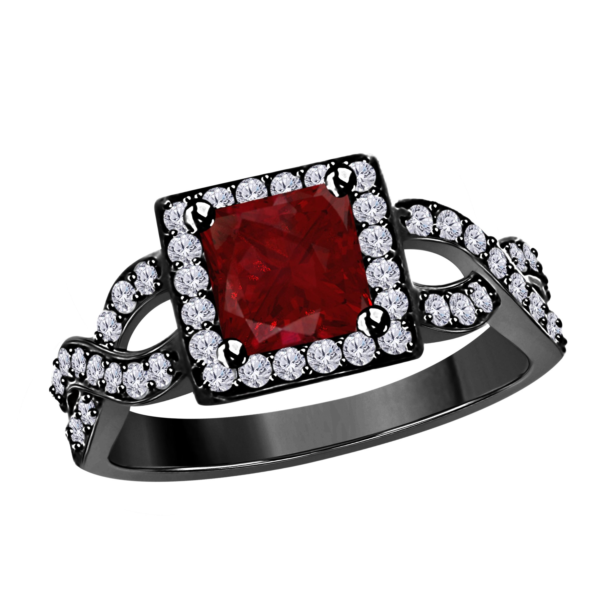 DreamJewels 2.00 Ct Princess Cut Halo Pave Eternity Lab Created Red Ruby & White CZ Split Shank Engagement Ring in 14k Black Gold Plated Size 4-12
