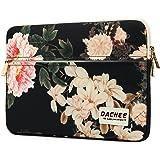 Dachee Black Peony Pattern 13 inch laptop sleeve with pocket 13 inch 13.3 inch laptop case macbook