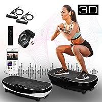 XPLON Vibrationsplatte 3D VPM030 Vibration Platte Vibrationstrainer Leistungsstark mit 2 leisen Motoren Zugbänder Trainingsbänder Armbandfernbedienung 99 Stuffen Bluetooth Musik