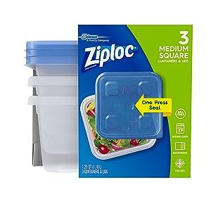 Ziploc Twist 'n Loc Container, Medium, Square, 3 ct