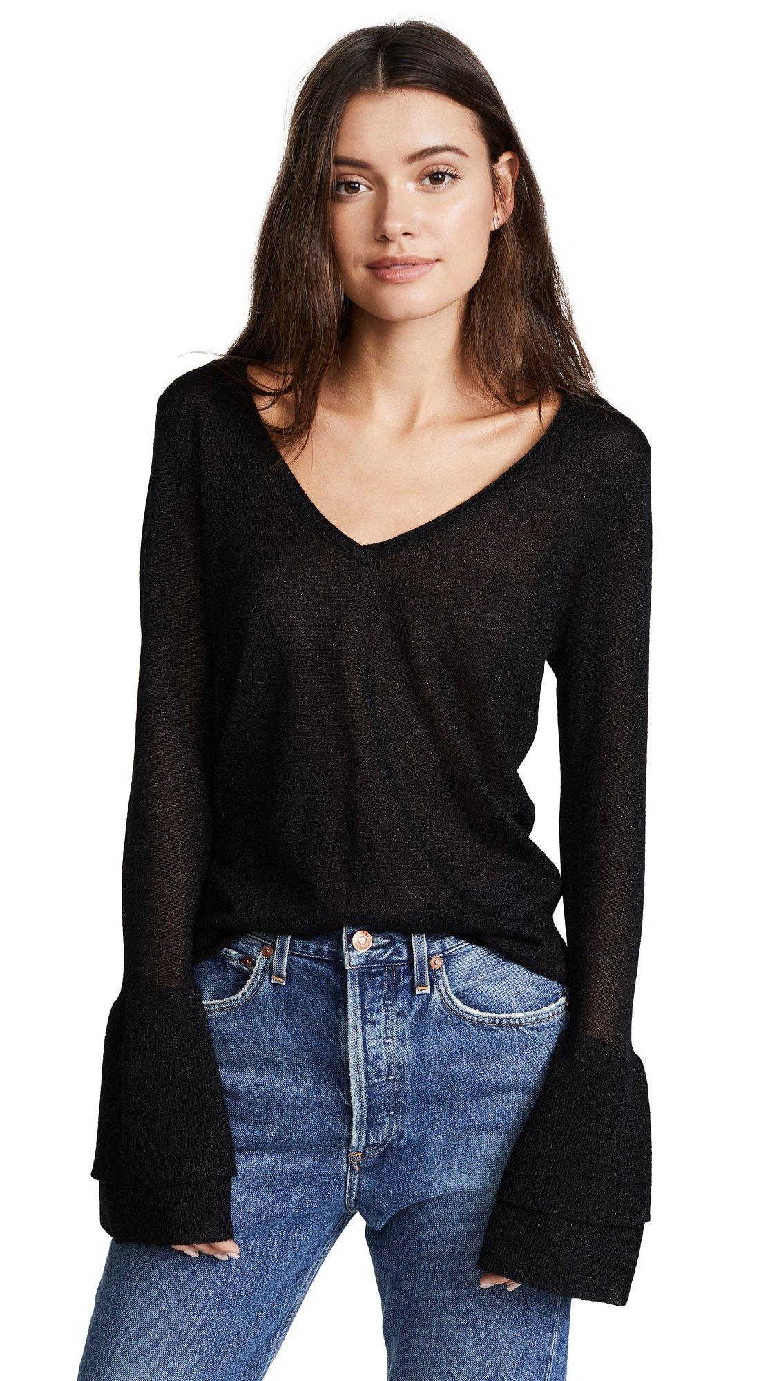 Ella moss Women's Marisol Sheer Ruffle Sleeve Pullover, Black, XS