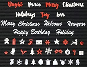 Christmas Holiday Set for Letter Boards - Cursive Words, Icons, Decoration to Enhance Your Felt Message Sign - 238 Piece with Snowflakes, Reindeer, Stockings and More - (Holiday Pack ONLY)