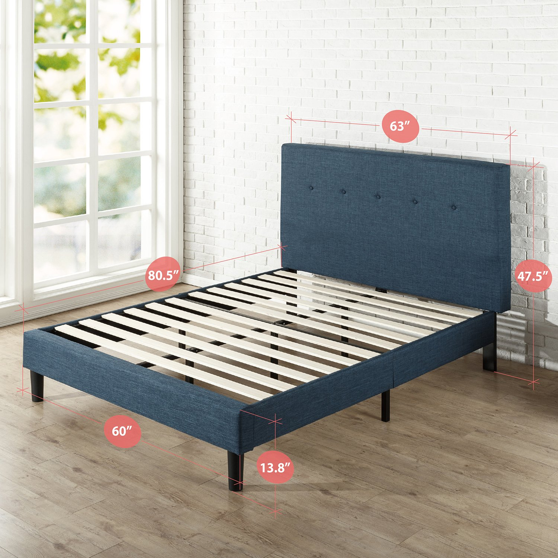 Easy Assembly Full Mattress Foundation Strong Wood Slat Support Zinus Omkaram Upholstered Navy Button Detailed Platform Bed
