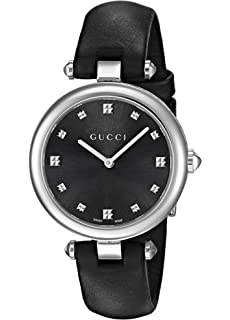 Gucci Swiss Quartz Stainless Steel and Leather Watch(Model: YA141403)