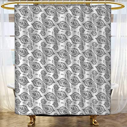 Paisley Shower Curtain Customized Modern Tribal Inspired Design With Flower And Ornamental Shaped Work Of Art