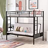 SOFTSEA Twin Over Futon Bunk Bed Metal Frame, Kids Twin Over Full Bunk Bed with Two Side Ladders and Full-Length Guardrails (