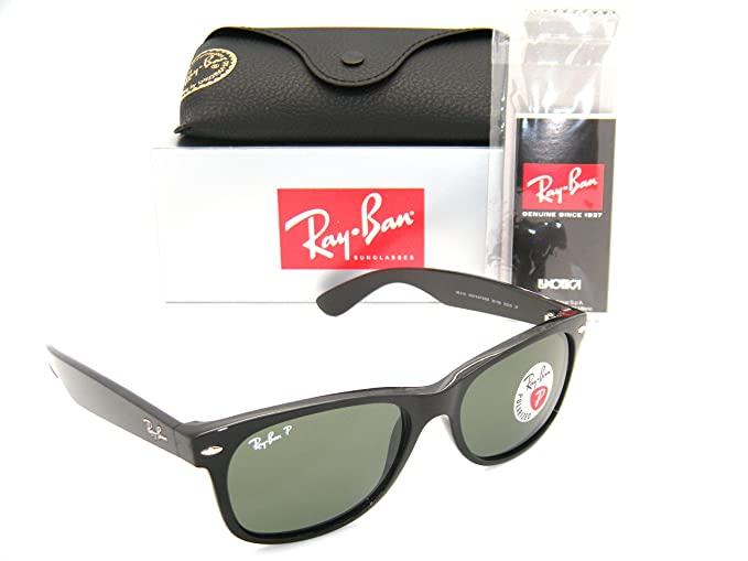 20ce34ecca4 Amazon.com  Ray-Ban New Wayfarer Black W  Green Polarized Lenses RB 2132  901 58 58mm Large  Clothing