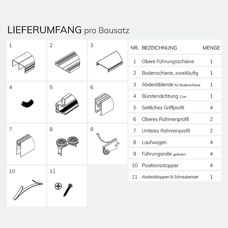 Boden- und Deckenschiene in 2000 mm Schiebet/ürbausatz inkl Inkl Aluminium Rahmentyp A max F/üllung kommt von Ihnen Beschl/äge f/ür 2 T/üren Fl/ügelma/ße: 1068 x 2750 mm