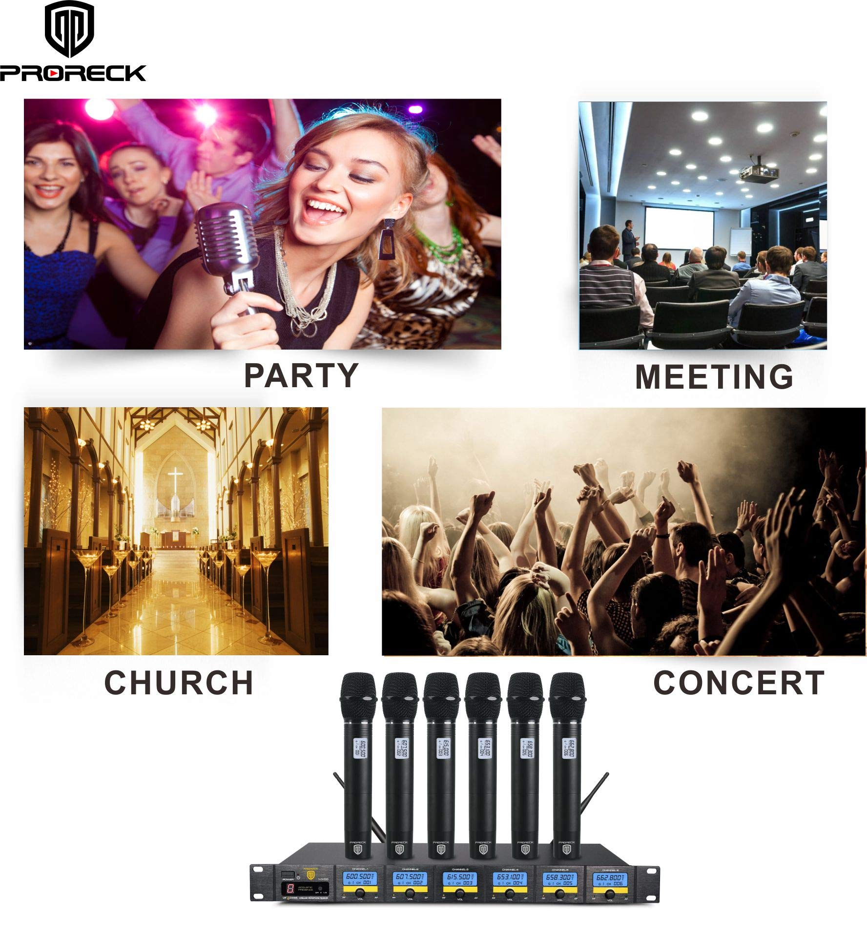 PRORECK MX66 6-Channel UHF Wireless Microphone System with 6 Hand-held Microphones Karaoke Machine for Party/Wedding/Church/Conference/Speech (New frequency) by PRORECK (Image #6)