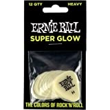 Ernie Ball P09226 Super Glow Cellulose Heavy Picks, Bag of 12, Heavy
