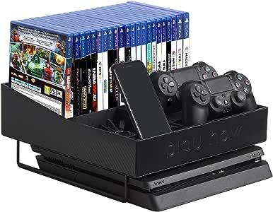 JackCubeDesign Playstation 4 Slim Organizer Multi-Functional Stand Wireless Joystick Controller Title Case DVD Storage Case Box Smartphone Holder(Carbon Fiber Black 11.5 x 12 x 5.6 inches) ? MK366A
