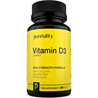 Vitamin D3 3000IU 365 Tablets (12 Month Supply) – High Strength Vitamin D Cholecalciferol Tablets, not Capsules or Softgels, Vegetarian Vitamin D3 also Gluten & Dairy Free by Puretality