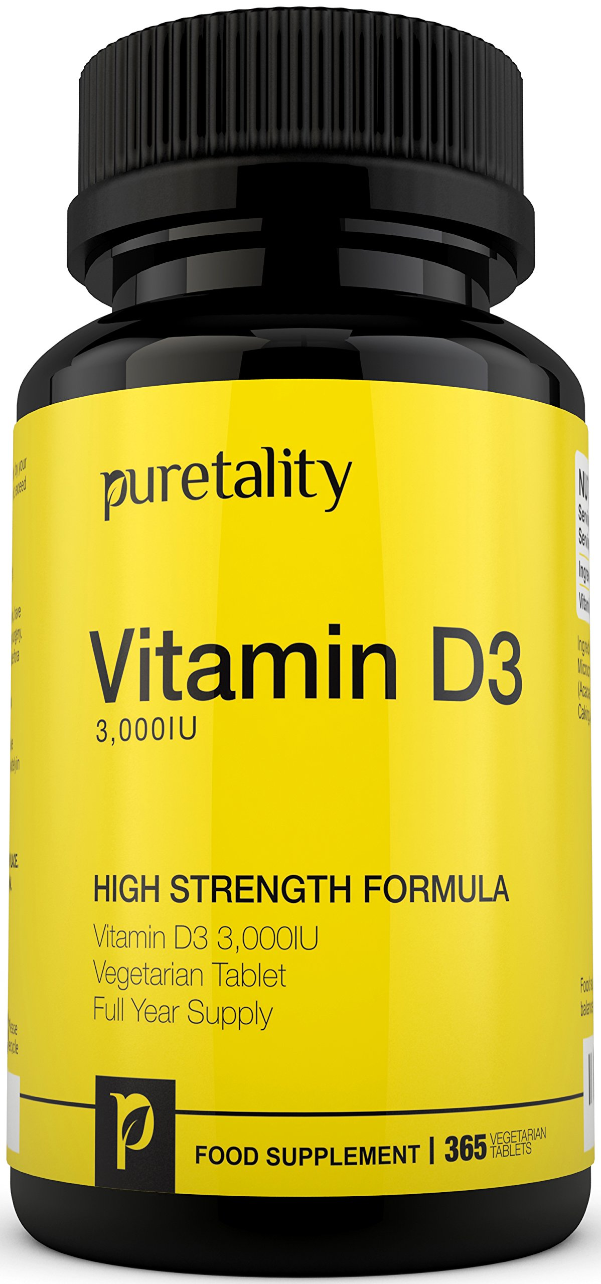 Vitamin D3 3000IU 365 Tablets (12 Month Supply) – High Strength Vitamin D Cholecalciferol Tablets, not Capsules or Softgels, Vegetarian Vitamin D3 also Gluten & Dairy Free by Puretality product image