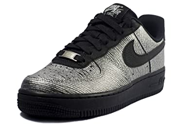 Nike Air Force 1 07 Women Leather Trainers in Black   Metallic Silver  616725 003   89b31996f3