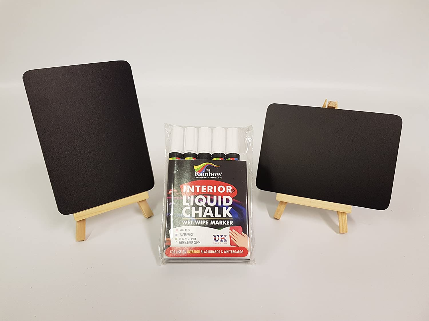 A5 x 6 PLUS A6 x 12 TABLETOP CHALKBOARDS ALL WITH WOODEN EASELS. PLUS A PACK OF 5 WHITE LIQUID CHALK PENS (CODE C38) CHALKBOARDS R US