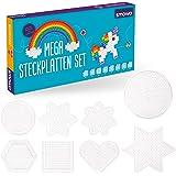 Smowo - 8 Bügelperlen Platten in vielen Formen - Steckplatten Set - Stifftplatten - Rund, Stern, Viereck, Sechseck, Herz, Blume