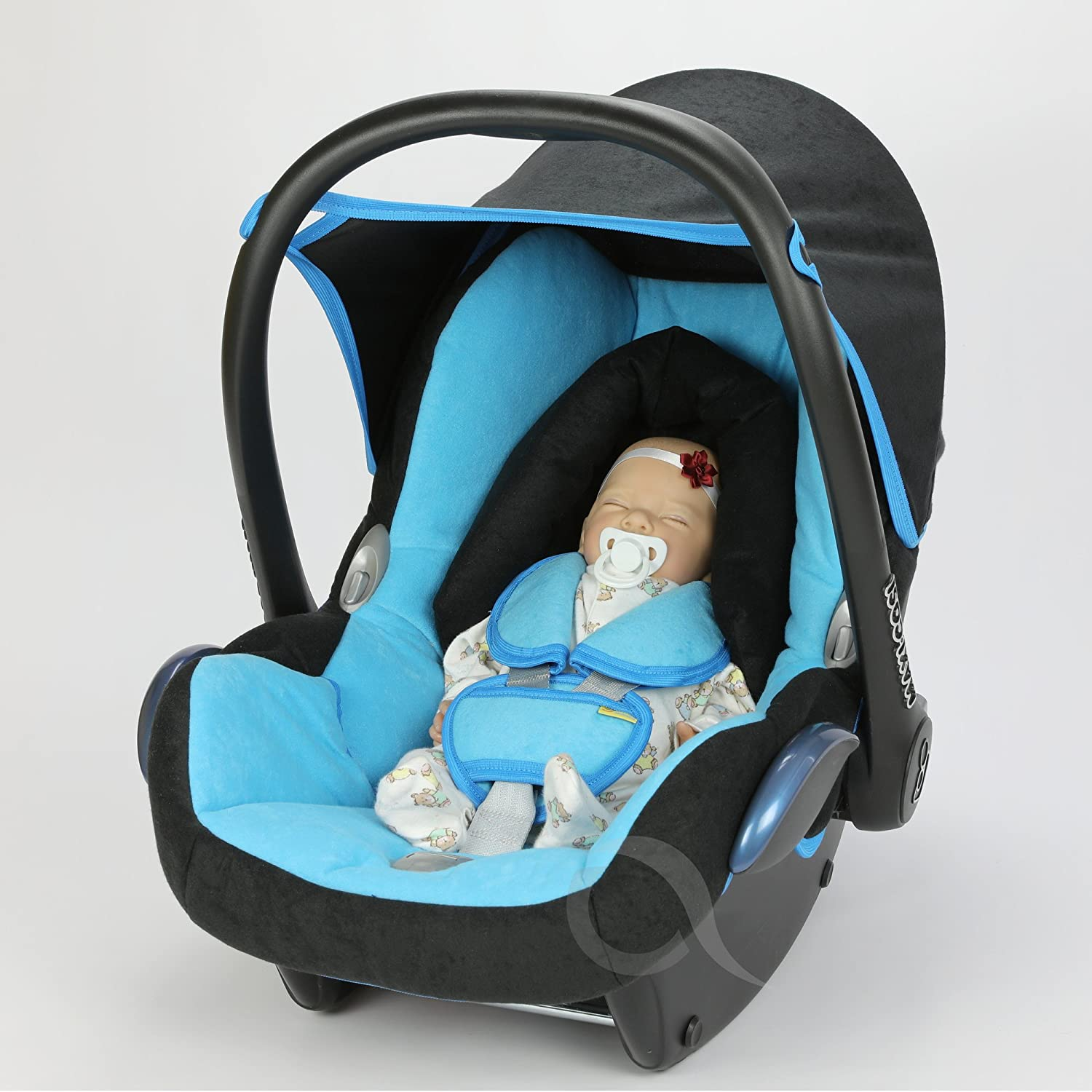 Replacement Seat Cover fits Maxi-Cosi CabrioFix Group 0+ Infant Carrier FULL SET ( turquoise / black)