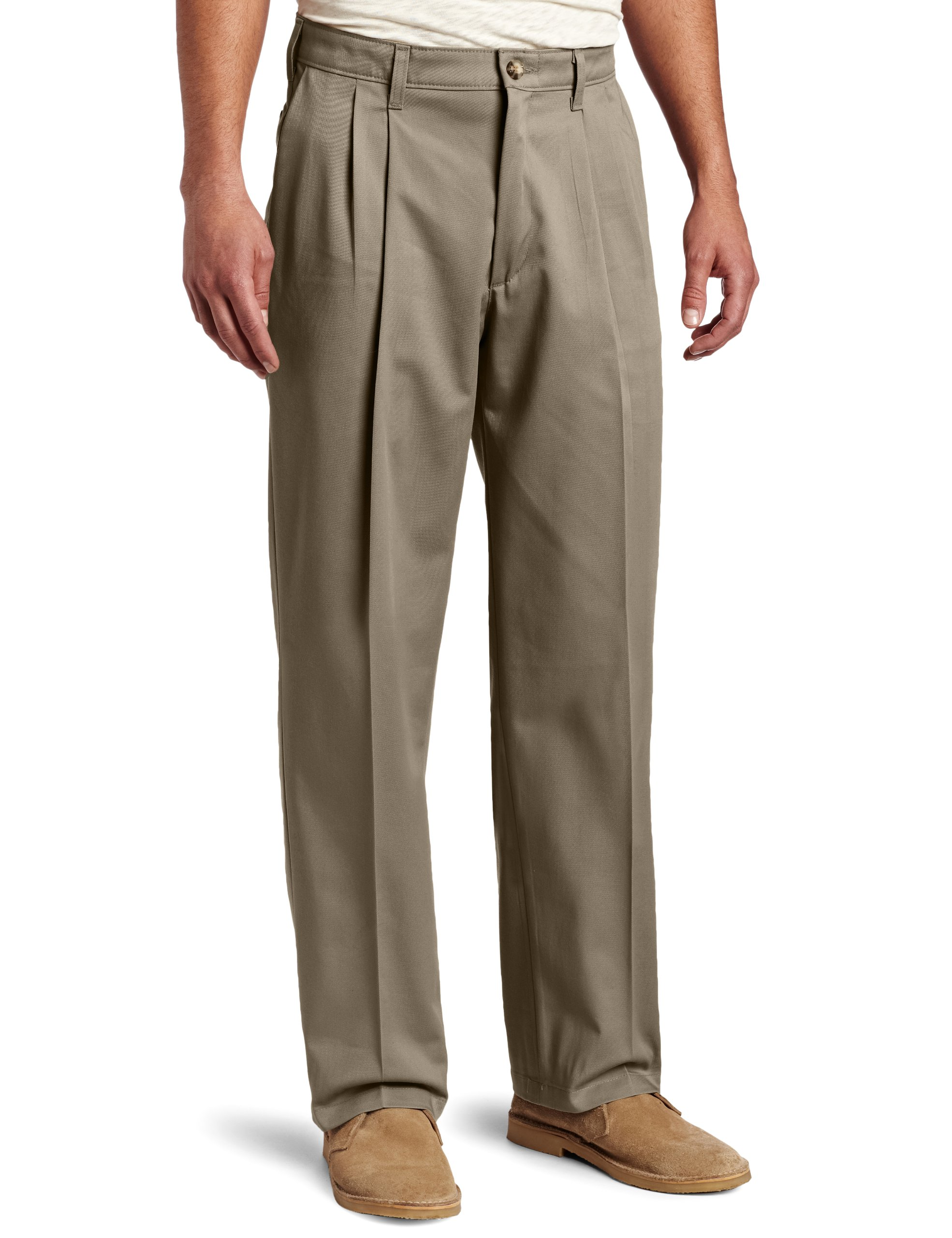 acf66285 LEE Men's Comfort Waist Custom Relaxed Fit Pleated Pant,Olive, 38W x 29L