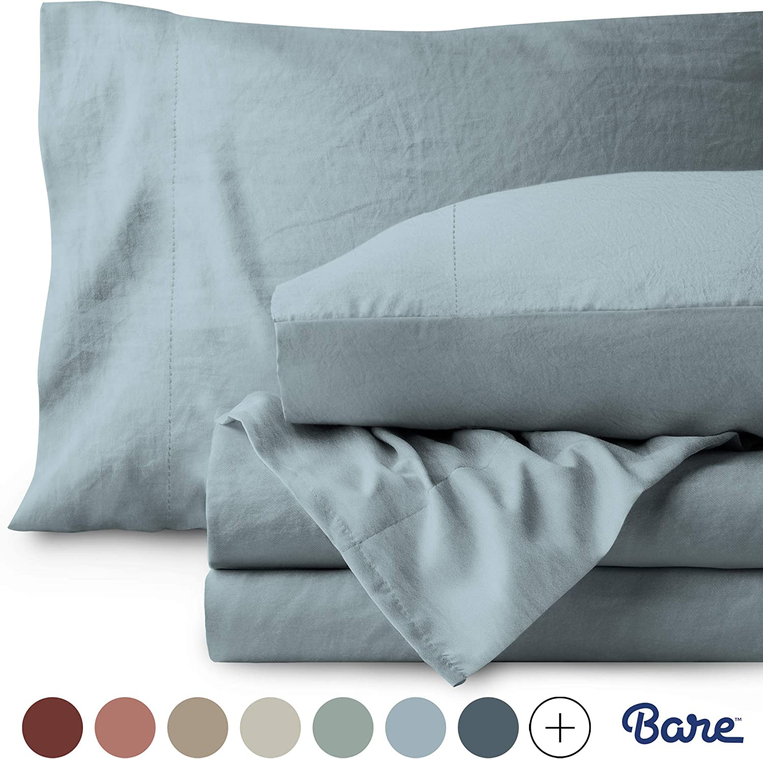 Bare Home Twin XL Sheet Set - College Dorm Size - Premium 1800 Ultra-Soft Microfiber Sheets Twin Extra Long - Double Brushed - Hypoallergenic - Stain Resistant (Twin XL, Sandwashed Dusty Blue)
