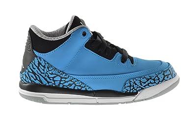 04fb0e77910d Jordan Air 3 Retro Powder Blue BP Little Kids Basketball Shoes Dark Powder  Blue White