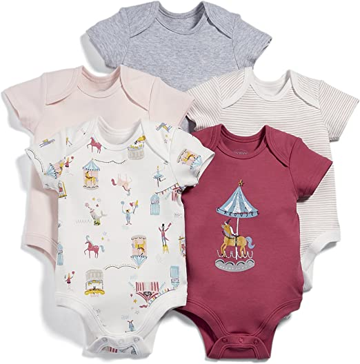 Exclusive Care Baby Girls 4132 All Over Print Bodysuit Pack of 3