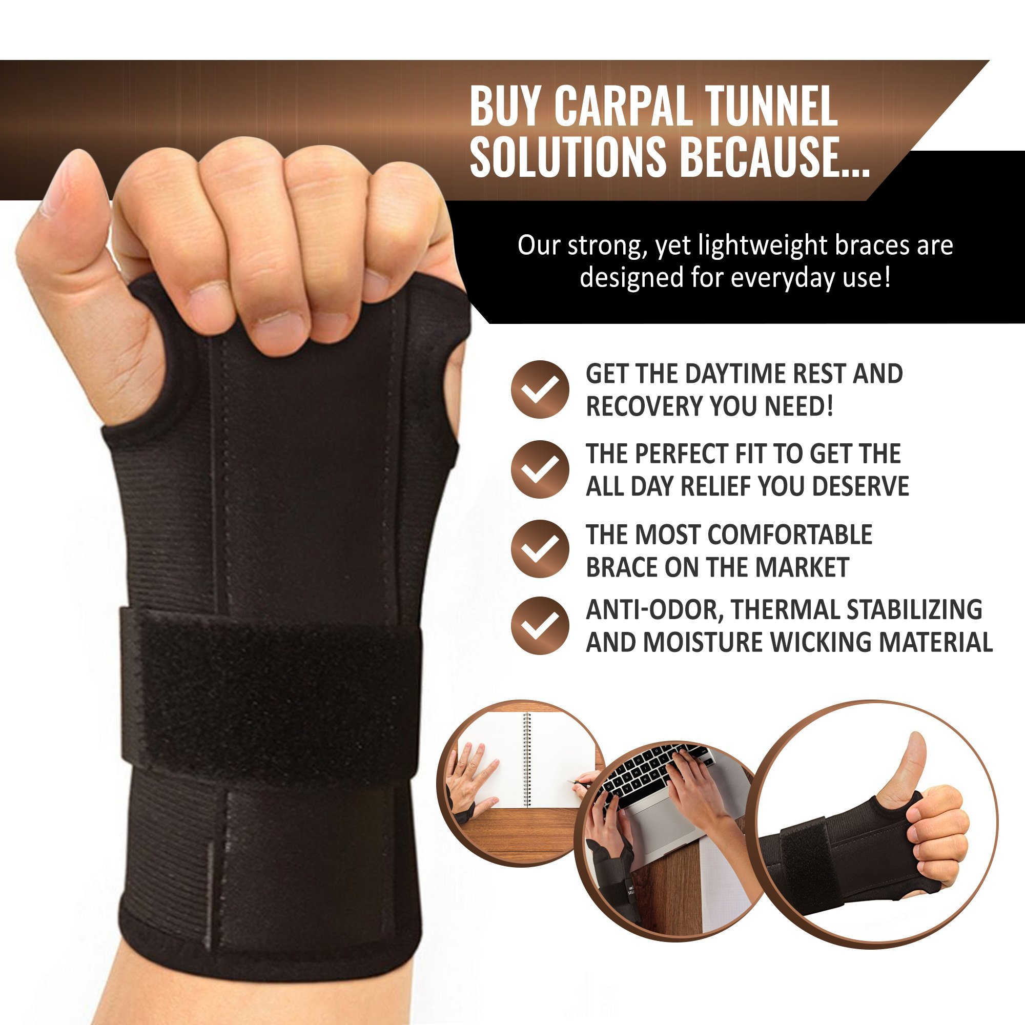 Carpal Tunnel Solutions Daytime Wrist Brace - RELIEF For Carpal Tunnel, RSI, Cubital Tunnel, Tendonitis, Arthritis, Wrist Sprains. Support Recovery & Feel Better NOW. (1 Brace Fits Both Hands) by Carpal Tunnel Wrist Brace (Image #7)