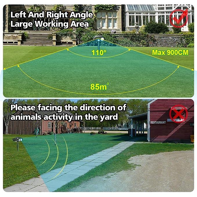 Focuspet Animal Repelente Solar Animal Repelente Ultrasonido para Ahuyentar Animales Defensas y Luz Flash para Perros,Gatos,Ardilla,Rata,Ahuyentar ...