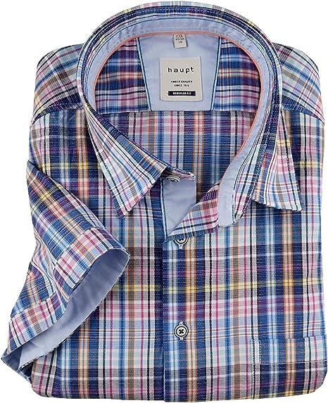 Haupt Estructura XXL Camisa de Manga Corta Check Azul-Anaranjado-Amarillo, 2xl-8xl:5XL: Amazon.es: Ropa y accesorios