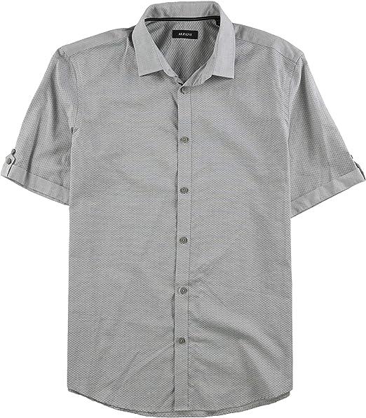 Alfani Mens Tonal Print Button Up Shirt