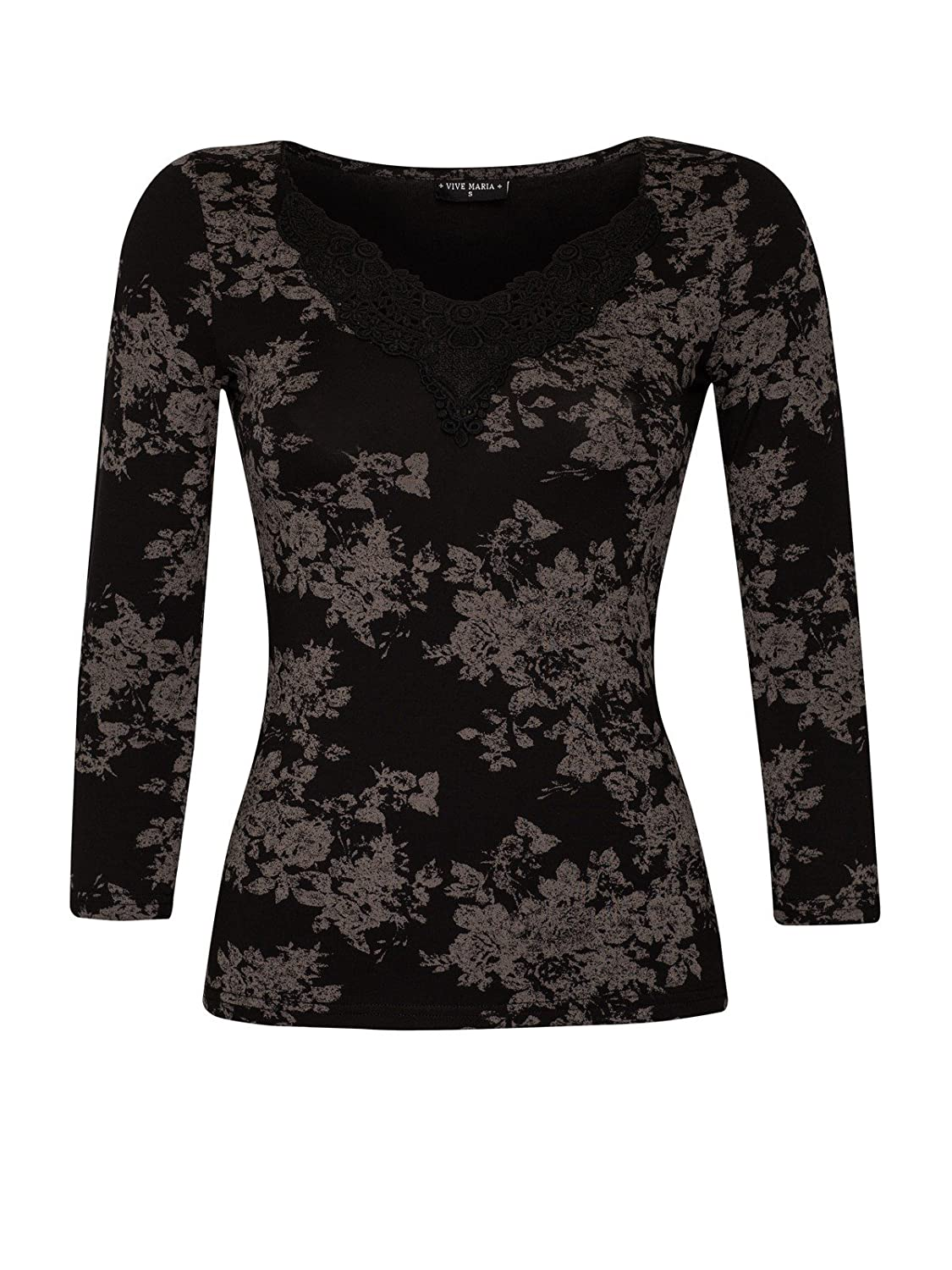 Vive Maria Dark Romantic Shirt schwarz Allover-Print