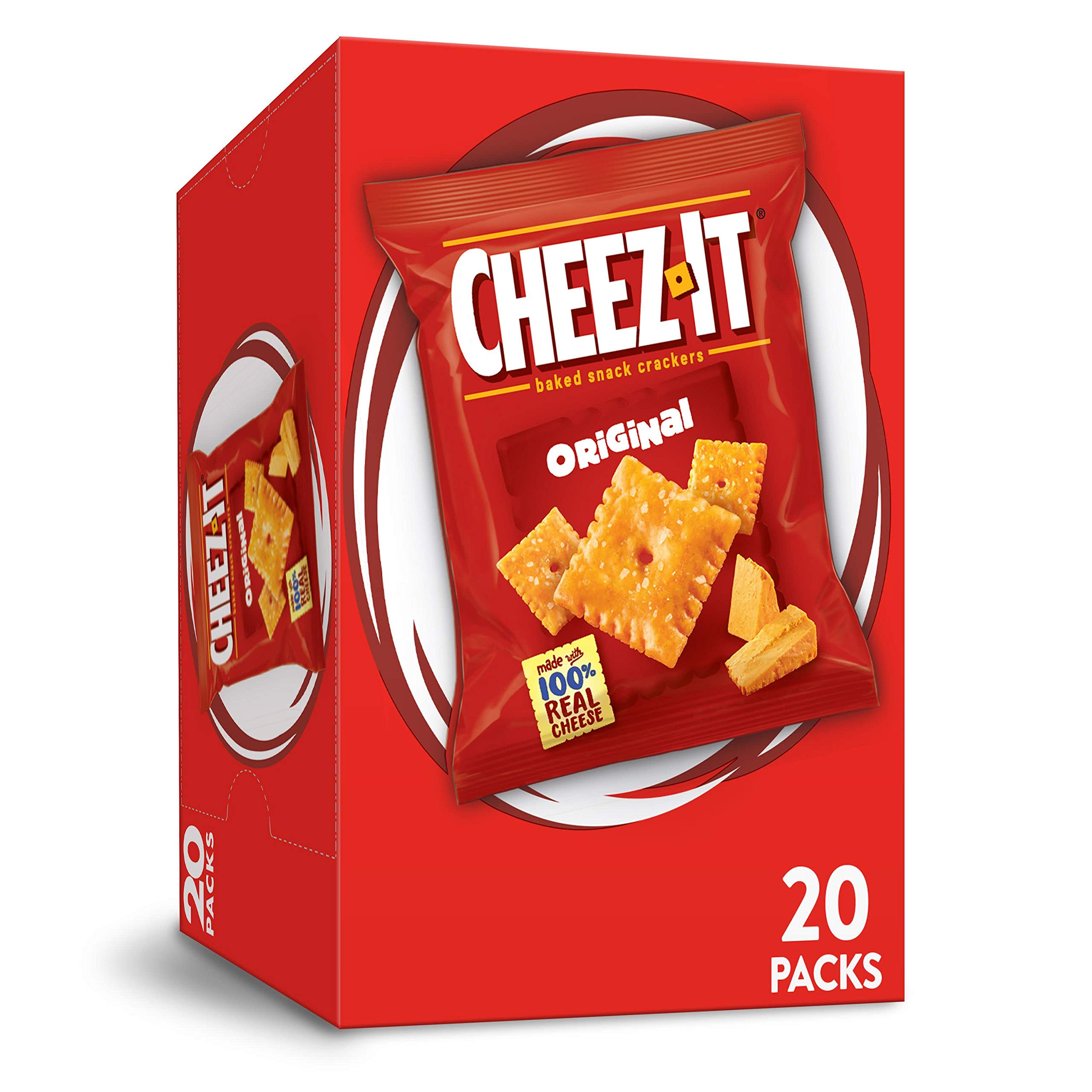 Cheez-It Baked Snack Cheese Crackers, Original, Made with Real Cheese, 20oz Box(20 Count)