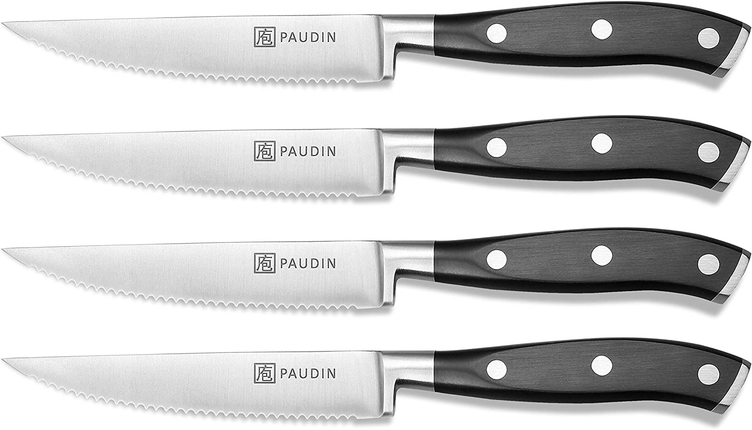 Steak Knives Set of 4 - PAUDIN Steak Knife Set - Serrated Steak Knives Dishwasher Safe Steak Knives - 4-Piece Steak Knives Set - Premium Stainless Steak Knives Serrated - Dinner Knives