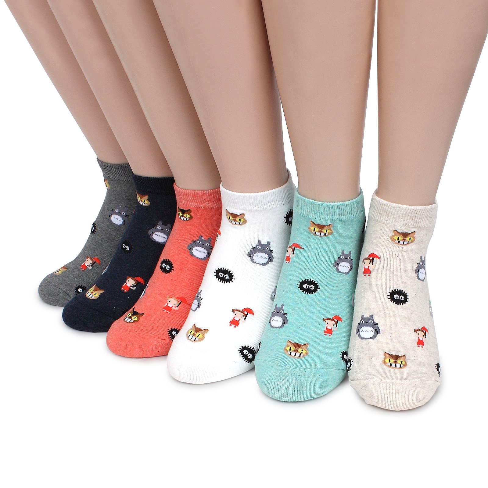 Intype Japaness Character Miyazaki Totoro Socks Collection (Low cut 6pairs (JD))