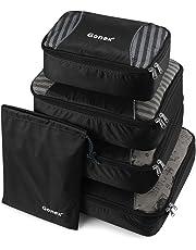 Gonex Packing Cubes Travel Luggage Packing Organizer,Laundry Bag Included (Black)