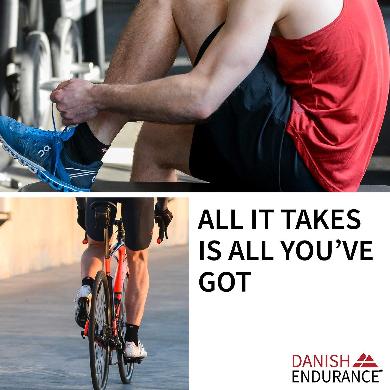 DANISH ENDURANCE Cycling Socks Regular Ankle Crew 3 Pack Padded Bike Socks for Men /& Women