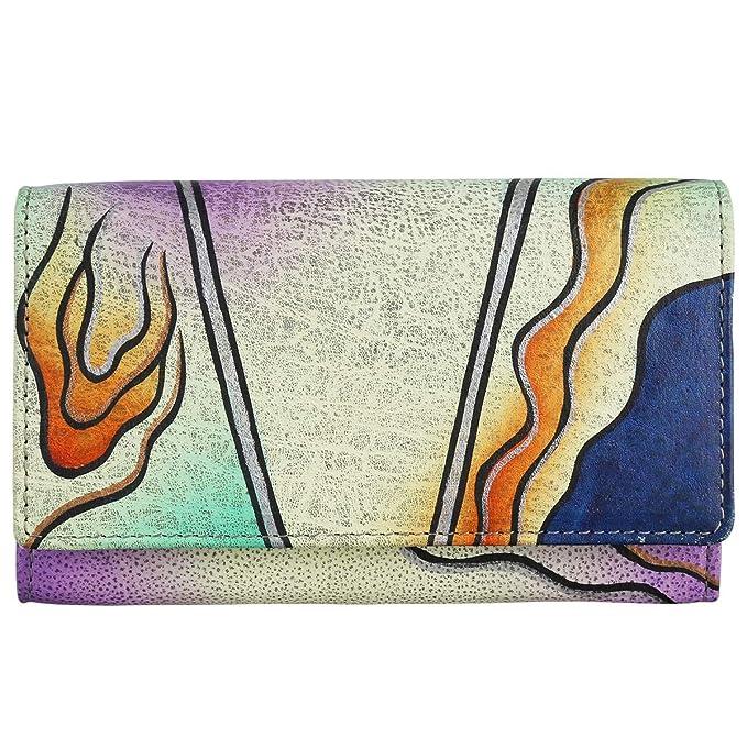 Piel y tipo cartera de cuero largo Craft Portemonaie pintado a mano: Amazon.es: Ropa y accesorios