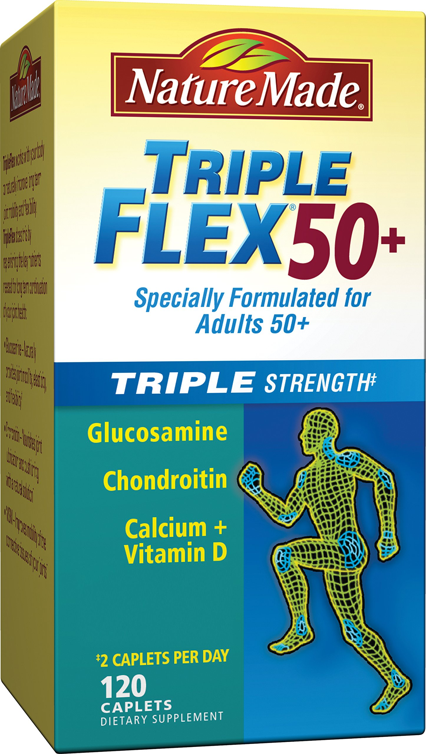 Nature Made TripleFlex Triple Strength 50+ Caplet (Glucosamine Chondroitin MSM) Value Size 120 ct