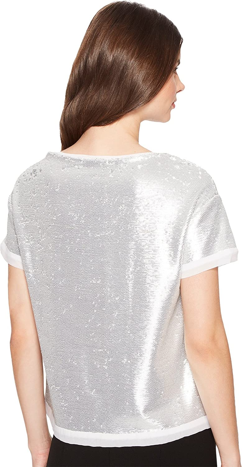 Three Dots Womens Sequins Boxy Crop Top