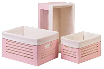 Creative Scents Pink Wooden Storage Box  3 Piece Set, With White Washable  Fabric Liner